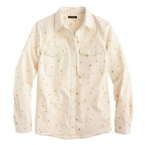 J. Crew Gold Star Ecru Button Down Shirt Sz M